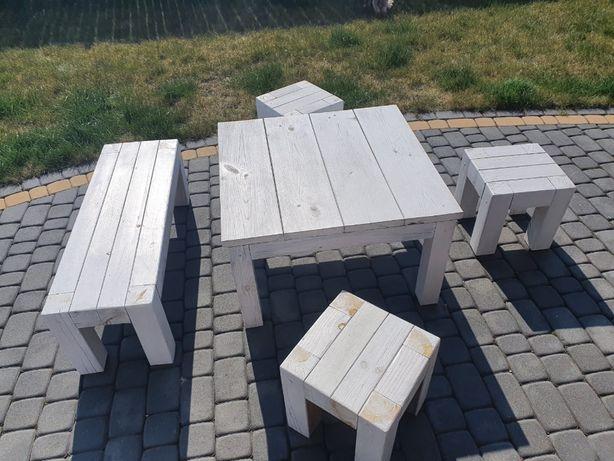 Stół ogrodowy+3xtaboret+ława