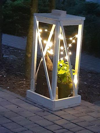 Ręcznie wykonany drewniany świecznik / lampion /
