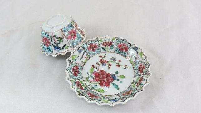 Tigela + Pires Esmaltes de Porcelana Chinesa; Período Yung cheng
