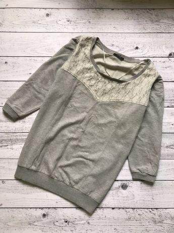Свитшот серый с кружевом George М кофта свитер