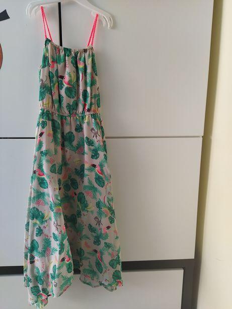 H&M nowa sukienka papugi 140