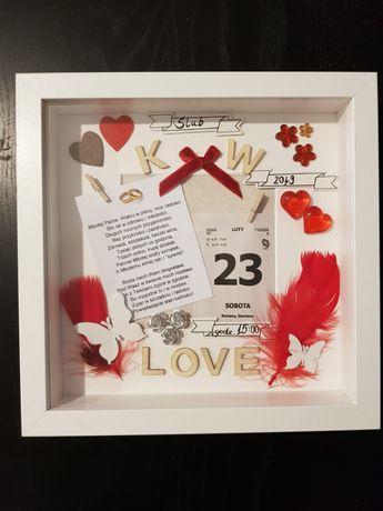 Pamiątka ślubu w ramce 3D, Oryginalny prezent