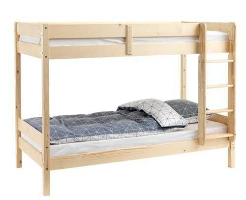 Кровать двухъярусная натур. дерево с матрасами 90х200 см.