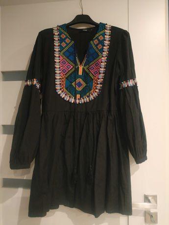 Sukienka czarna kolorowa S