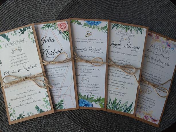 Zaproszenia Ślubne jednostronne koperta