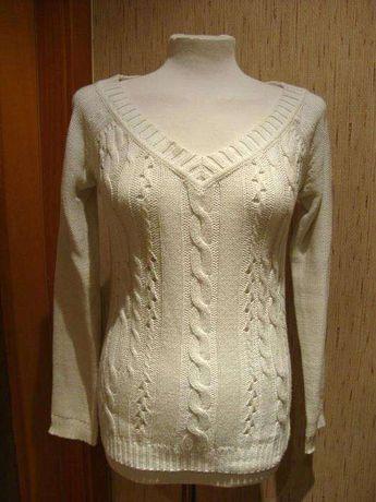 Camisola decotada de tricot branco da Mango