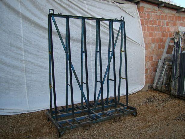 Metalowy stojak typu A, dwustronny. transport okien, szyb.