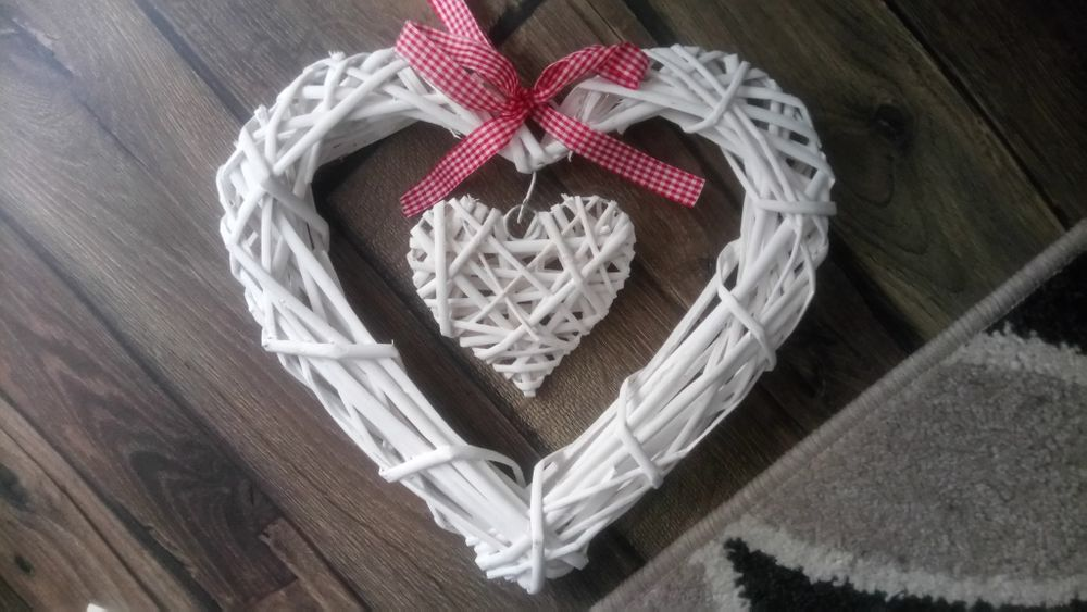 Serduszka ozdobne plecione wesele białe rustykalne Krzeszowice - image 1