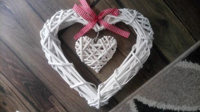 Serduszka ozdobne plecione wesele białe rustykalne