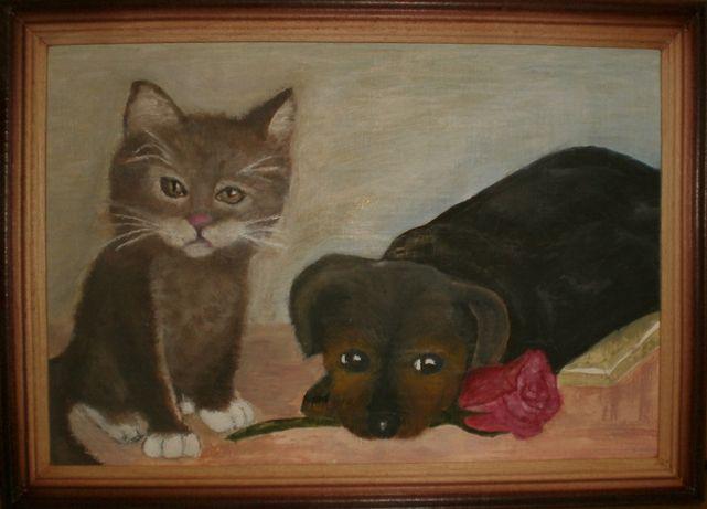 Картина кошка и собачка. На подарок.
