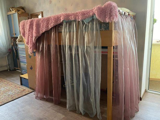 Кровать деревянная со шкафом и ящиками