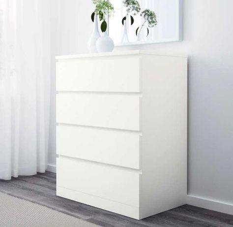 Cómoda Ikea Malm c/4 gavetas, branco 80x100 cm