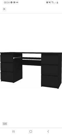 Biurko czarny mat 130cm 6 szuflad nowe