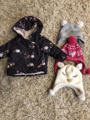 Куртка next 80 шапки , набор одежды для девочки пакет  шапка
