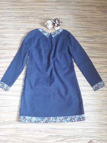 Плаття синє з вставками