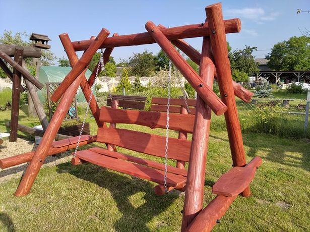 Huśtawka drewniana ogrodowa z bali