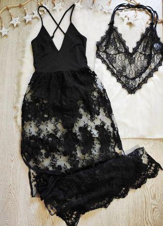 Черное пляжное платье боди ажурной юбкой гипюр секси купальник пеньюар