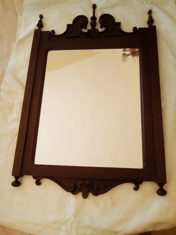 Espelho de parede em madeira maciça, vintage