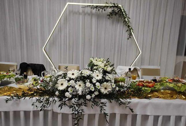 Złota ŚCIANKA weselna  – Heksagon