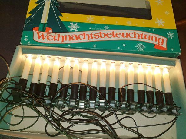 Stare lampki choinkowe PRL niemieckie dwa komplety