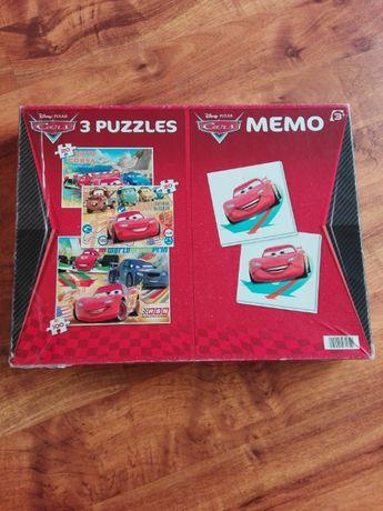 3 x Puzzle + gra memo Auta 3+