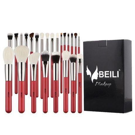 Набор профессиональных кистей для макияжа BEILI с красной ручкой 30 шт