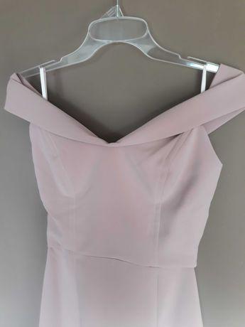 Długa sukienka, pudrowy róż S/XS