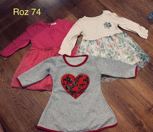 Sukienki sukieneczki reserved folk roz 74 zestaw