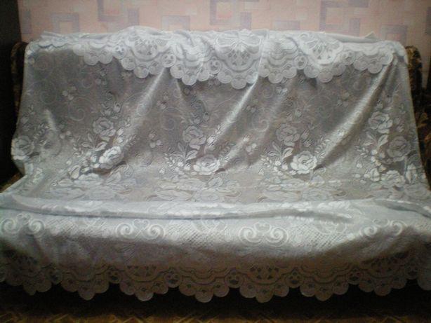 Тюль 2х2.5м белая кружевная ажурная на карниз гардина штора