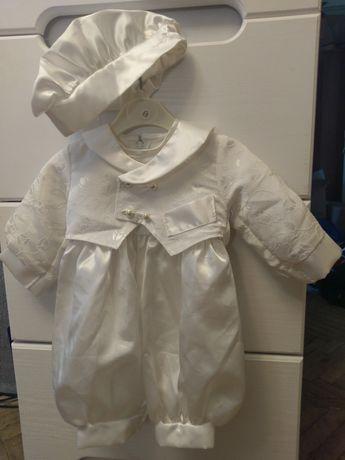 Фрак комбинезон костюм на выписку на крестины белый атлас 0-6 мес