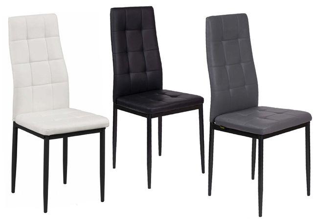Nowoczesne krzesło do jadalni K1 - ekoskóra krata - kolory do wyboru