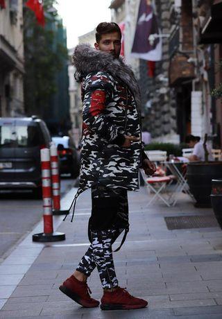 Парка зимняя камуфляж с мехом. Мужская парка куртка длинная до -20