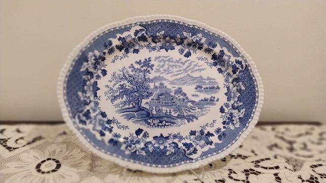 80,00€--Travessa Faiança Loiça Inglesa Antiga Grande- Azul e Branco