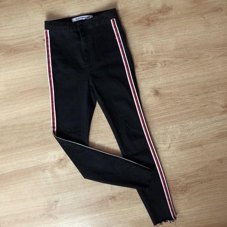 Czarne rurki wysoki stan Zara lampasy skinny slim jeans high waist