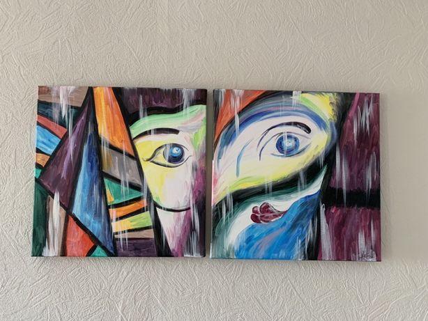 Картины в стиле поп-арт (диптих)
