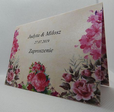 zaproszenie floral różowe piwonie ślubne na ślub zaproszenia kwiaty