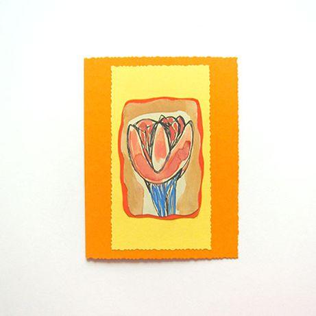 pomarańczowa kartka z tulipanem, kartka ręcznie malowana,tulipan kartk