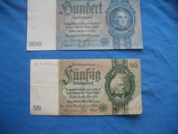 Niemieckie banknoty 100 marek i 50 marek