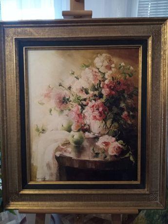 Obraz olejny Rozświetlone róże. Waszewska.