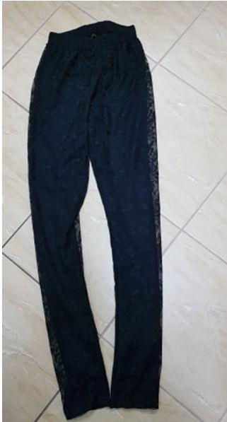 Getry legginsy koronkowe czarne z podszewką roz XS