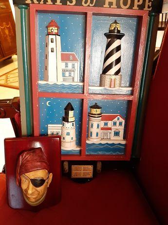 Decoração náutica - quadro cabide e marinheiro