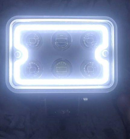Фары LED 32W. 11 на 7см. Дальний свет+ангельские ДХО водозащита. штука