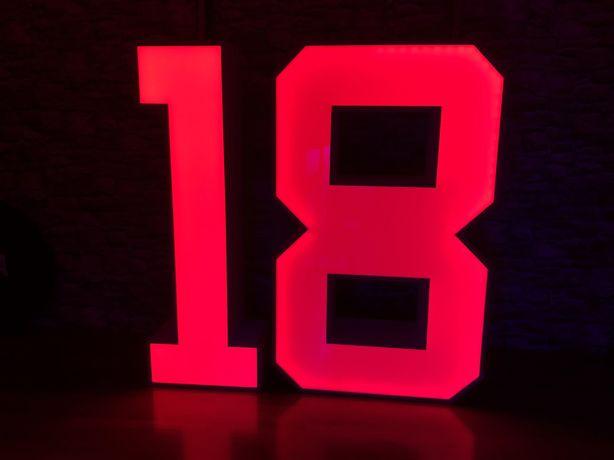 Cyfry 18 napis 18 roczek osiemnastka podświetlana LED