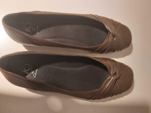 Clarks 7, 41, balerinki brązowe, płaski obcas