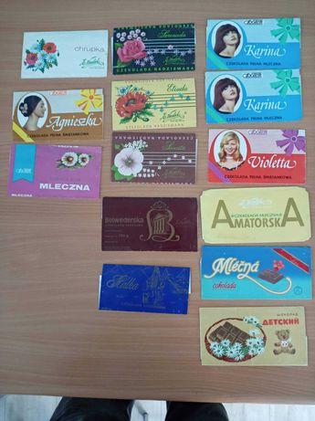 Kolekcja papierków po czekoladch. Lata 60-90
