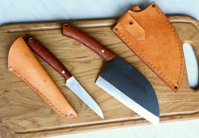 Nóż Ręcznie Robiony Komplet Kuchenny Tasak Mahoń, Wykrawak