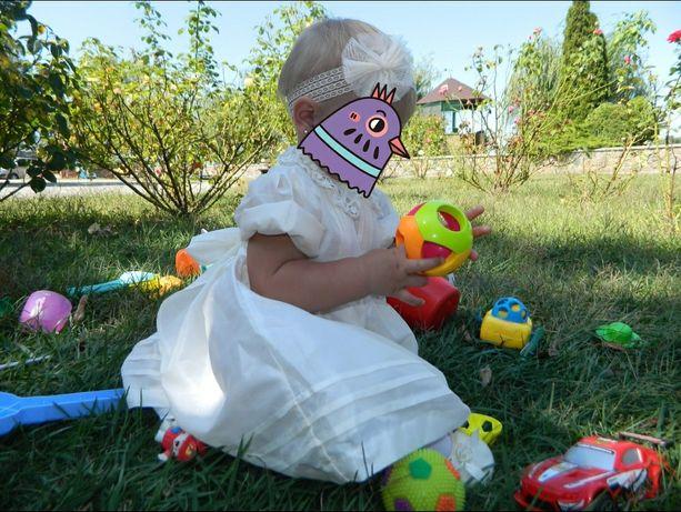 Нарядное платье с бантом 1 годик крещение + пинетки Primark