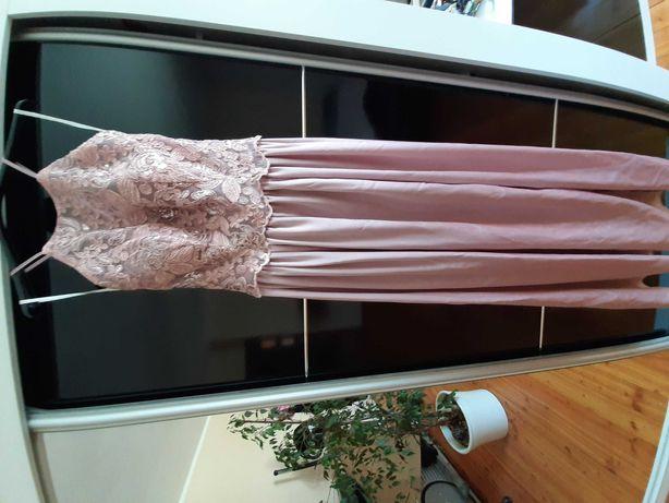 Sukienka na wesele maxi pudrowy roz rozmiar xs