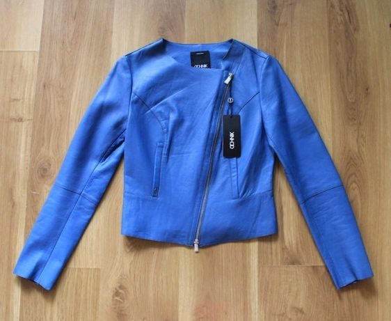 OCHNIK SKÓRA OWCZA niebieska kurtka ramoneska i spódniczka 34 xs s 36
