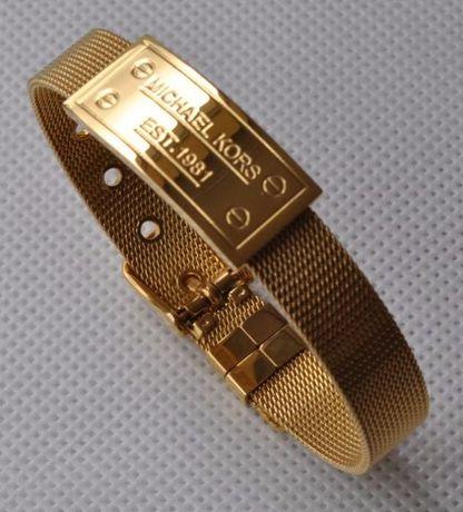 bransoletka złota pozłacana siatkowa logo mk michael kors